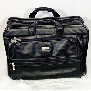 US Luggage Black Leather Laptop Bag Briefcase